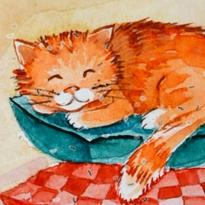 Кот на подушках