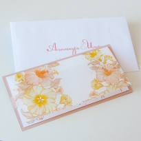 Персиковое свадебное приглашение «Цветочный миг»